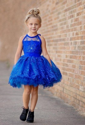 Newest Royal Blue Lace Appliques Flower Girl Dress Halter Puffy Mini