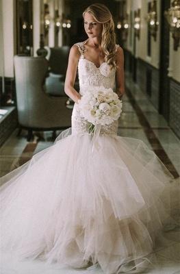 Gorgeous Lace  Sexy Mermaid Wedding Dresses UK | New Tulle Cheap Wedding Dresses UK_1