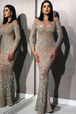 Silver Crystals Long Sleeve Prom Dresses UK  | Nude Inner Lining  Mermaid Evening Gown UK BC1612_1
