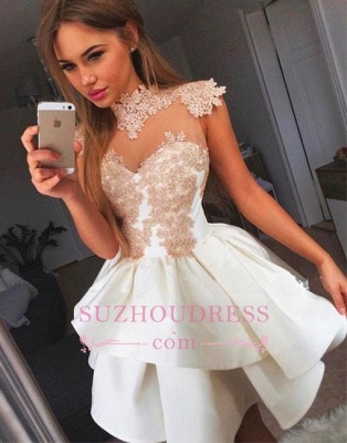 Lace-Appliques Delicate High-neck Cap-Sleeve Short Homecoming Dress UK BA7206_1