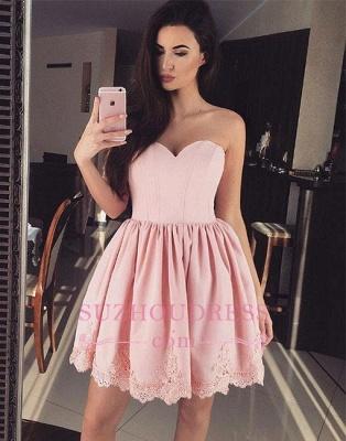 Cute Pink Sweetheart-neck Short Lace Homecoming Dress UK_1