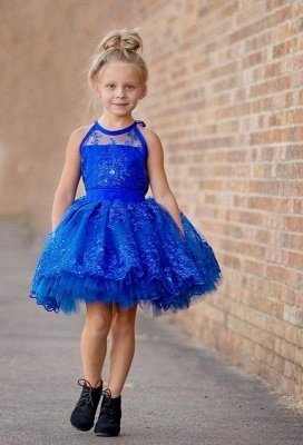 Newest Royal Blue Lace Appliques Flower Girl Dress Halter Puffy Mini_1