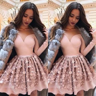 Luxury Long Sleeve Pink Homecoming Dress UK | 2019 Short Party Dress UK Online_3