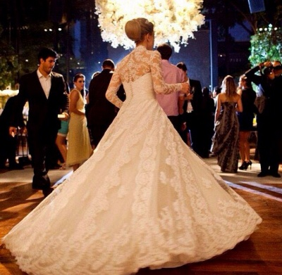Elegant V-neck Long Sleeve Lace Wedding Dress Ball Gown_2