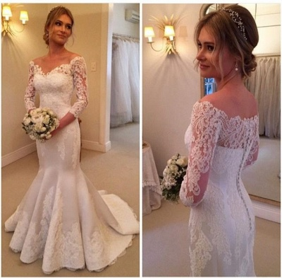 Modern Off-the-shoulder 3/4-longth-sleeve Sexy Mermaid Wedding Dress With Lace Appliques_3