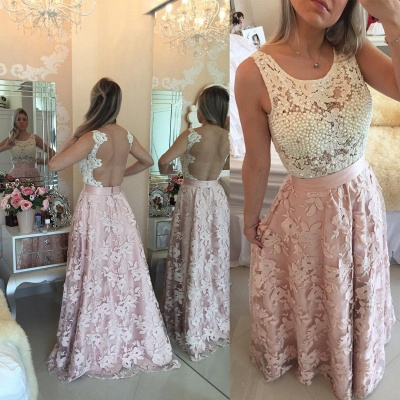 Gorgeous Sleeveless Lace Pearls Prom Dress UKes UK Long Party Gowns BT0_5
