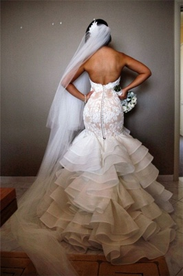 Elegant Lace  Sexy Mermaid Wedding Dress Tiered Open Back Strapless Wedding Gowns BA1540_3