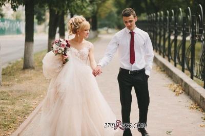 Tulle Lace Floor-Length Gorgeous Princess Cap-Sleeve Appliques Wedding Dress_4