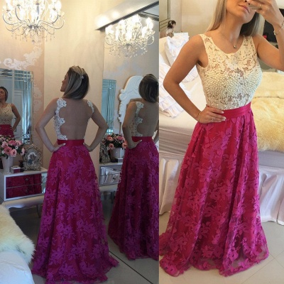 Gorgeous Sleeveless Lace Pearls Prom Dress UKes UK Long Party Gowns BT0_4