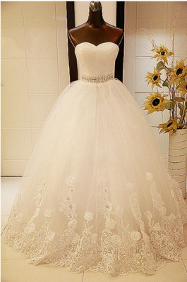 Elegant Sweetheart Sleeveless Ball Gown Wedding Dress With Tulle Lace Beadss_1