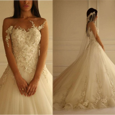 Delicate Sweetheart Tulle Princess Wedding Dress With Flowers Appliques_2