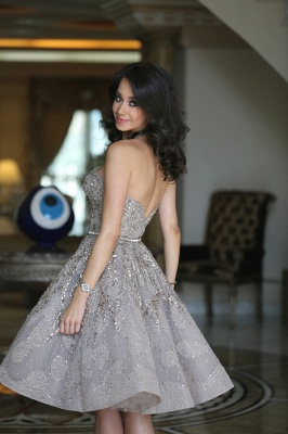 Luxury Strapless Sequins Appliques Short Homecoming Dress UK MH_3