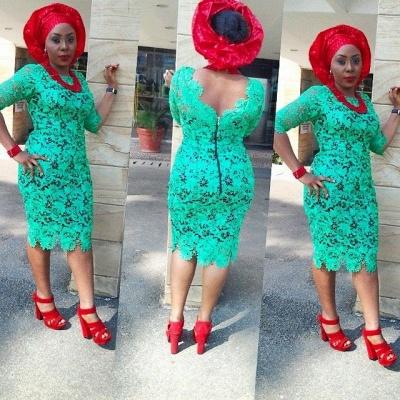 Hot Sale Green Half Sleeve Cocktail Dress UK Lace Sheath_2