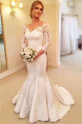 Modern Off-the-shoulder 3/4-longth-sleeve Sexy Mermaid Wedding Dress With Lace Appliques_1
