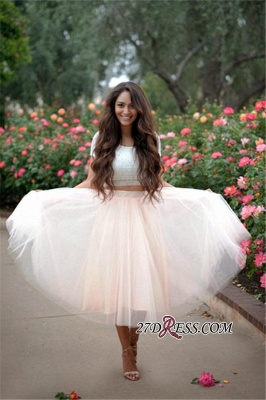 Lace Two-Pieces Tulle Cheap A-line Short-Sleeves Homecoming Dress_2