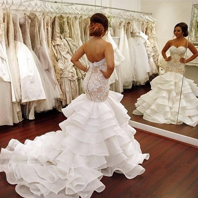 Elegant Lace  Sexy Mermaid Wedding Dress Tiered Open Back Strapless Wedding Gowns BA1540_6