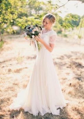A-line Popular Short-Sleeves V-neck  Modest Lace Wedding Dresses UK_2