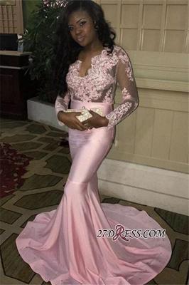 V-neck Long Mermaid Long-Sleeves Pink Lace-Appliques Sweep-Train Evening Dress UK BK0 ba7832_1