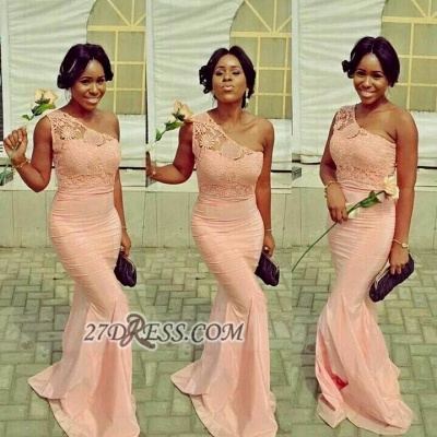 Sexy One-shoulder Sleeveless Mermaid Bridesmaid Dress UK With Lace Appliques_1