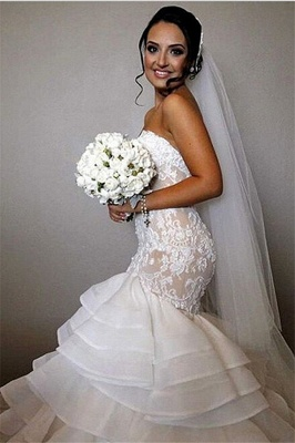 Elegant Lace  Sexy Mermaid Wedding Dress Tiered Open Back Strapless Wedding Gowns BA1540_1