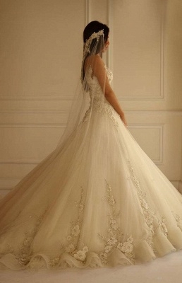 Delicate Sweetheart Tulle Princess Wedding Dress With Flowers Appliques_3