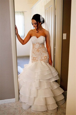Elegant Lace  Sexy Mermaid Wedding Dress Tiered Open Back Strapless Wedding Gowns BA1540_4