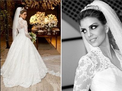 Elegant V-neck Long Sleeve Lace Wedding Dress Ball Gown_4