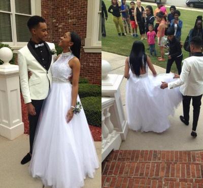 Elegant White Beadss Tulle Wedding Dress Halter Floor-length_4