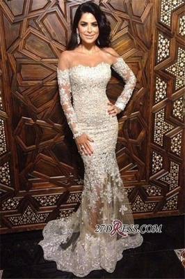 Mermaid Long-Sleeve Appliques Elegant Off-The-Shoulder Lace Charming Illusion Evening Dress UK JJ0151_3