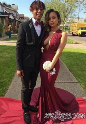 V-Neck Lace Elegant Burgundy Sleeveless Prom Dress UK_2