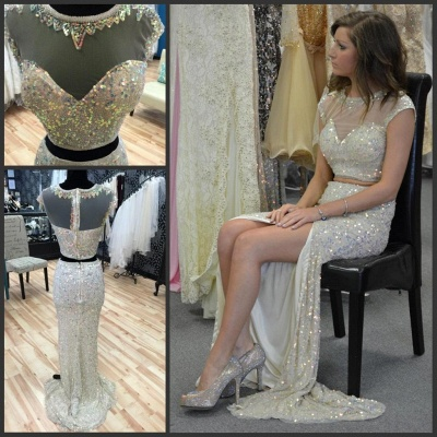 Gorgeous Cap Sleeve Sequins Prom Dress UKes UK Two Pieces Slit Beadings_3