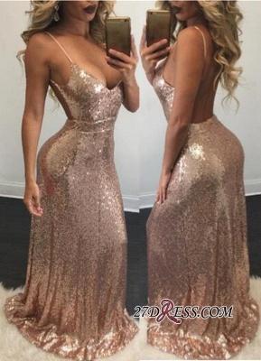 Mermaid Elegant Spaghetti-Strap Backless Sequins Prom Dress UK_2
