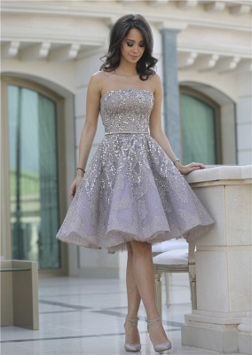 Luxury Strapless Sequins Appliques Short Homecoming Dress UK MH_4