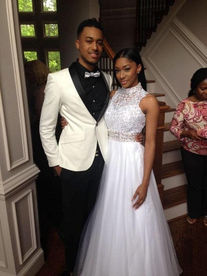 Elegant White Beadss Tulle Wedding Dress Halter Floor-length_1