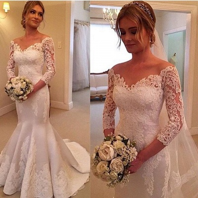 Modern Off-the-shoulder 3/4-longth-sleeve Sexy Mermaid Wedding Dress With Lace Appliques_2