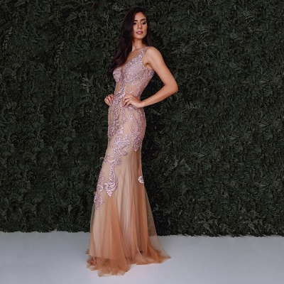 Luxury Sleeveless Mermaid Evening Dress UK With Lace Designer Tulle Party Gowns_3