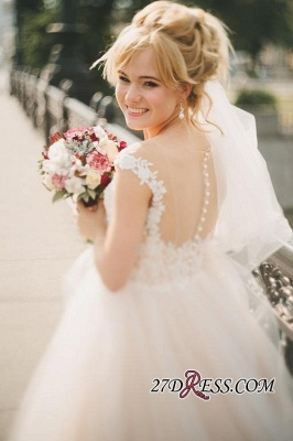 Tulle Lace Floor-Length Gorgeous Princess Cap-Sleeve Appliques Wedding Dress_1