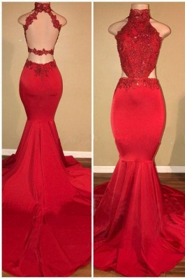 Red Lace Prom Dress UK | Mermaid Long Evening Gowns_1