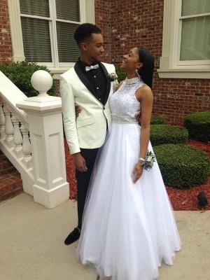 Elegant White Beadss Tulle Wedding Dress Halter Floor-length_2
