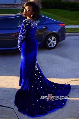 Velevt Mermaid V-Neck Long-Sleeves Elegant Royal-Blue Crystal Prom Dress UK_2