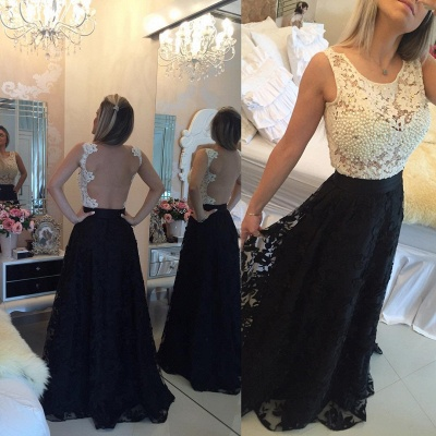 Gorgeous Sleeveless Lace Pearls Prom Dress UKes UK Long Party Gowns BT0_3
