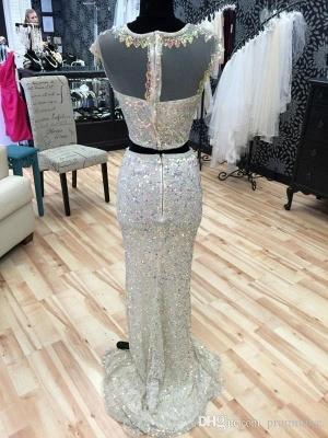 Gorgeous Cap Sleeve Sequins Prom Dress UKes UK Two Pieces Slit Beadings_5