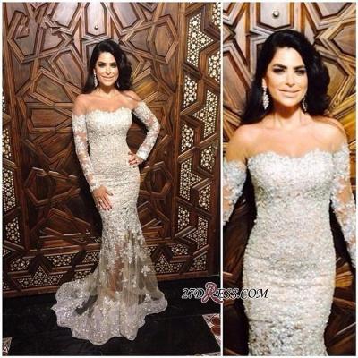 Mermaid Long-Sleeve Appliques Elegant Off-The-Shoulder Lace Charming Illusion Evening Dress UK JJ0151_1