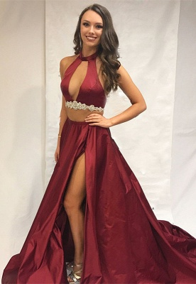 Burgundy two-pieces prom Dress UK, long evening Dress UK with slit_1