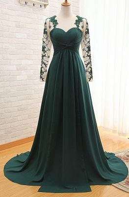 Sexy Long Sleeve Dark Green Evening Dress UK Chiffon Long With Appliques_1
