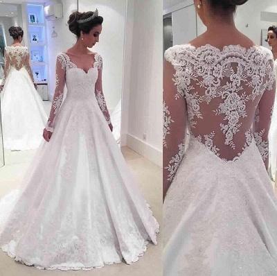 Newest A-line Long Sleeve Wedding Dress Lace Appliques_1
