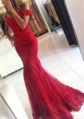 Appliques Off-the-shoulder Red Lace Gorgeous Mermaid Evening Dress UK_1