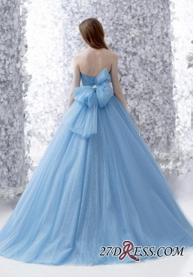 Beads A-line Strapless Tulle Romantic Bow Sleeveless Evening Dress UK_2