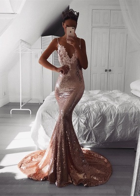 Sexy V-Neck Spaghetti-Straps Prom Dress UK | Sequins Mermaid Evening Gowns BA9810_1