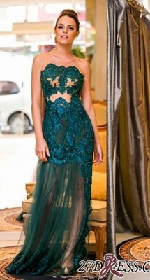 Sexy Floo-length Dark-Green Sleeveless Scoop Evening Gown_2